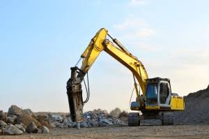 Excavator With Breaker Attachment